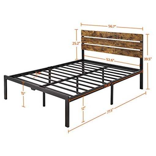 Bedroom Yaheetech Full Size Metal Platform Bed Frame with Wooden Headboard/Under Bed Storage No Box Spring Needed,Mattress… modern beds and bed frames