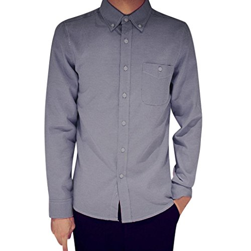 Pervobs Mens Long Shirts, Big Promotion! Mens Long Sleeve Oxford Formal Casual Suits Slim Fit Tee Dress Shirts Blouse Top (M, - Placket Shirt Oxford