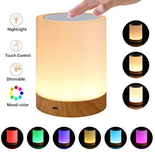 Echoming Luz de Noche Recargable, 6 Colores LED Lámparas de Mesa para Dormitorios Luz Táctil con Sensor con Regulable...