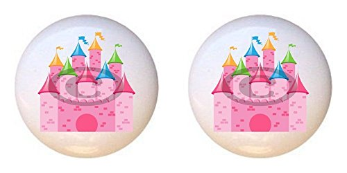 - SET OF 2 KNOBS - Castle - Princess by PP - DECORATIVE Glossy CERAMIC Cupboard Cabinet PULLS Dresser Drawer KNOBS