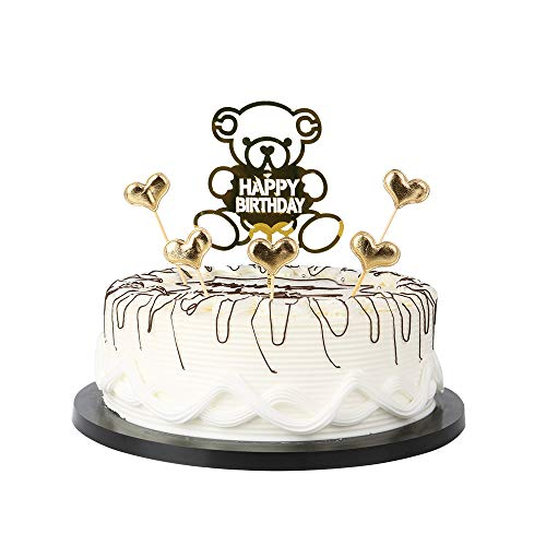 Gold Cartoon Bear Happy Birthday Cake Toppers letters
