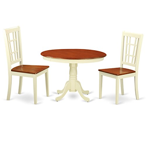 East West Furniture HLNI3-BMK-W 3 PC Hartland Set with One Round 42in Small Table & 2 Dinette Chairs with Wood Seat in a Beautiful Buttermilk & Cherry Finish