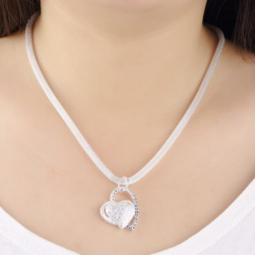 Alicenter Hot Fashion 925 Sterling Silver Charm Heart Pendant Beautiful women Necklace b