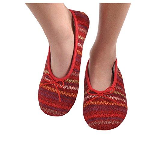 312752abc41 Snoozies Womens Multi Wavy Knit Ballet Non-Skid Slipper Socks - Red