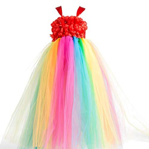 New Flower Girl Rainbow Tulle Dress Skirt Frilly Flower Dance Tutu Prom Robe Ball Gown Long,Red,Age:6-7Y/Skirt length:69CM -