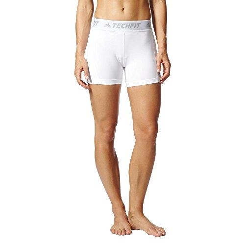 adidas Women's Soccer Techfit Base Short Tights, White, (Adidas Compression Shorts Techfit)