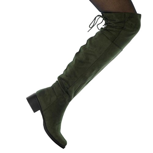 Fashion Green Cavalier Soft Biker Angkorly Women's Shoes Thigh Laces Heel 4 cm Block Boot High Hx5q6w6TX