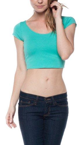A.S Juniors Cotton Stretchy Cap Sleeve Casual Ballerina Crop Top (Medium, Mint) ()