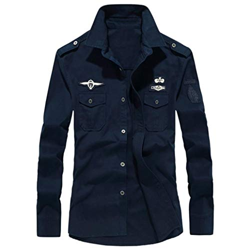 Sunhusing Men's Lapel Cotton Casual Workwear Long Sleeve Shirt Military Cargo Slim Blouse Navy