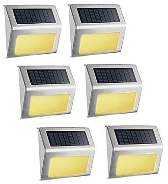 SimPra luz solar blanca cálida, luz de paso LED de acero inoxidable para exteriores, ilumina escaleras, cubierta, patio, etc. (blanco cálido, paquete de 6): Amazon.es: Amazon.es