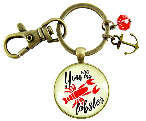 You are My Lobster Love Key Chain Vintage Red Nautical Romantic Couple Quote Inspired Pendant Anchor Charm