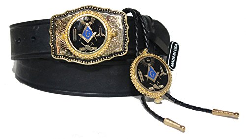 Custom Made Belt Buckles (Black Custom Masonic Working Tools 1 1/2 inch Dress Belt with Buckle and matching BoloTie. Made in the USA Size)
