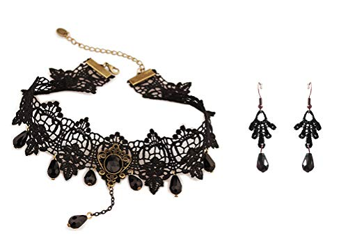 Charm.L Grace Black Lace Gothic Lolita Pendant Choker Necklace Earrings Set -