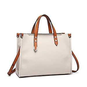 Miss Lulu Pu Leather Ladies Handbags Top Handles Works Bag 2Pcs Women Tote Shoulder Bag Satchel Set (Beige)