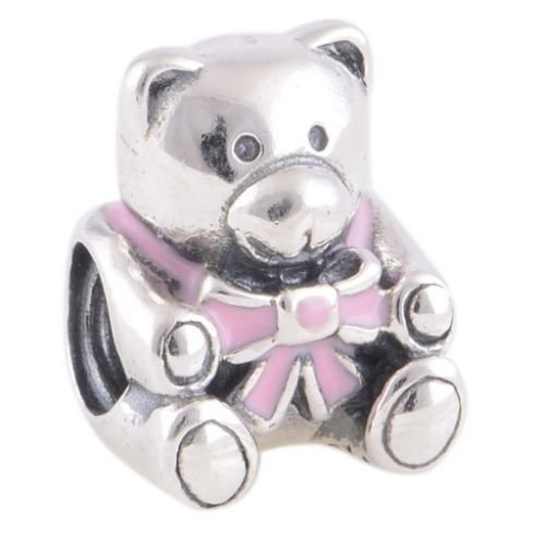 Silver Plated Teddy - Hoobeads Silver Plated It Is a Girl Teddy Bear with Pink Ribbon Charm Bead Fits European Bracelets