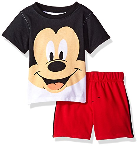French Terry Short Set (Disney Baby Boys' 2 Piece Mickey Mouse French Terry Short Set,Black,12m)