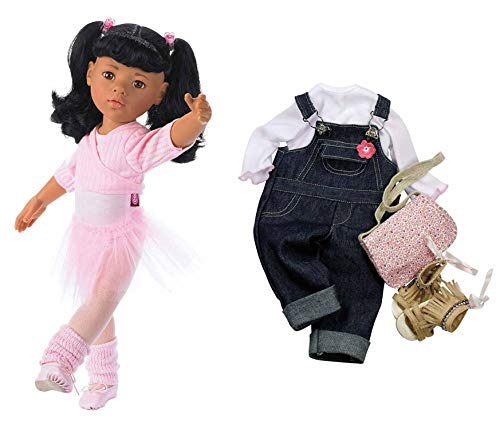 "Gotz Hannah at The Ballet - 19.5"" Asian Poseable Doll with Extra Outfit (Denim Overalls, Shirt & Sandals) and Long Black Hair to Wash & Style"