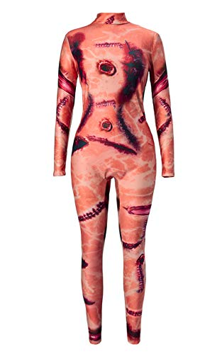 TUONROAD 3D Graphic Printed Zombie Halloween Costumes Ideas Incarnadine Pink Black Suture Body Bloody Wound Skeleton Bodysuit Jumpsuit Leotard Catsuit for Young Girl Adult Female Women -