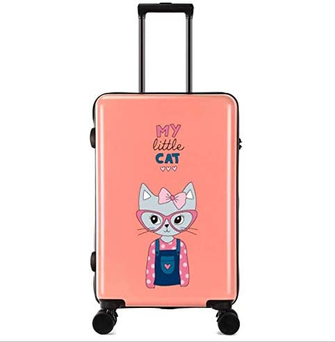 Tjtz Universal Wheel Trolley case Luggage Small Fresh 24 inch Suitcase Color : Pink
