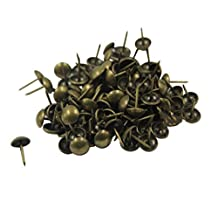 WellieSTR 100 pcs Upholstery Nails/tacks Round Headed Nail Studs Pins Small 7*11mm Antique Brass color