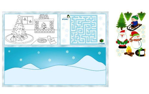 8-Count Activity Placemats with Stickers, Kids Christmas
