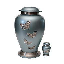Solid Brass Butterfly Adult Funeral Cremation Urn, Large Ash Container With Keepsake