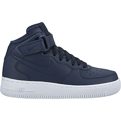 Af1 High Shoes - Nike Boy's Air Force 1 Mid Basketball Shoe Obsidian-White 6Y