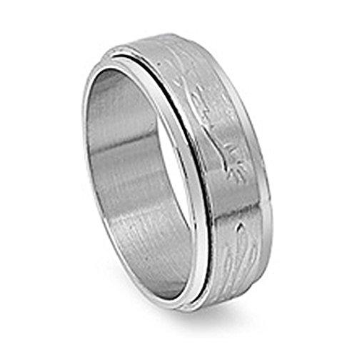 Steel Design Ring Tribal Spinner (Stainless Steel Brushed Finish Spinner Ring with Tribal Designs - size 13)