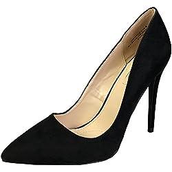 Anne Michelle Women's Plain Pointy-Toe Dress Heel Pump, Black Faux Suede, 6.5 B (M) US