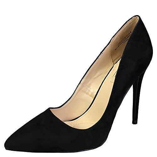 (Anne Michelle Women's Plain Pointy-Toe Dress Heel Pump, Black Faux Suede, 8.5 B (M))