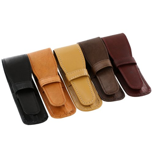 Genuine Leather Single Leather Pen Case Pouch Assorted, (10 Drawer Single)