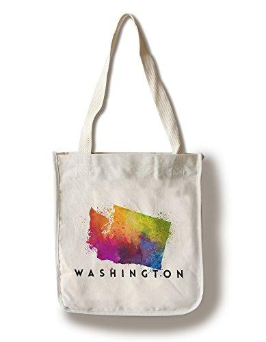 Lantern Press Washington - State Abstract Watercolor (100% Cotton Tote Bag - Reusable)