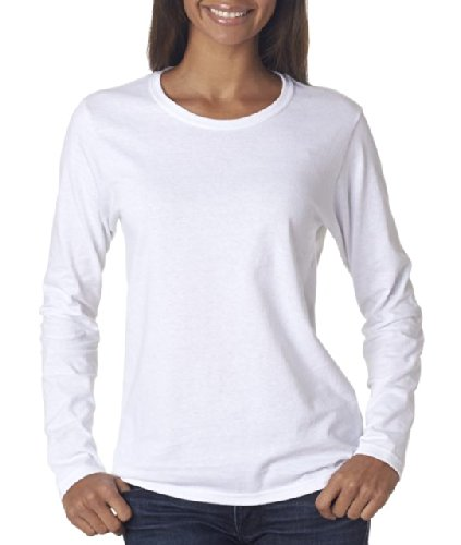 Gildan womens Heavy Cotton 5.3 oz. Missy Fit Long-Sleeve T-Shirt(G540L)-WHITE-2XL (Polo Ash Grey T-shirt)
