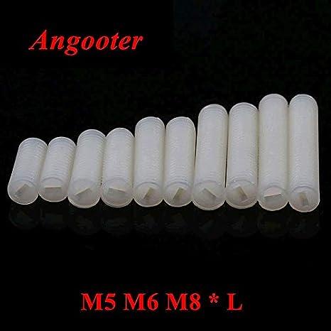 Size: M5x 50pcs, Length: 12mm Screw 50pcs 25pcs M5 M6 M8 Nylon Slotted Set Screws Plastic Headless Nylon Grub Set Screw Screws Length 8mm to 40mm