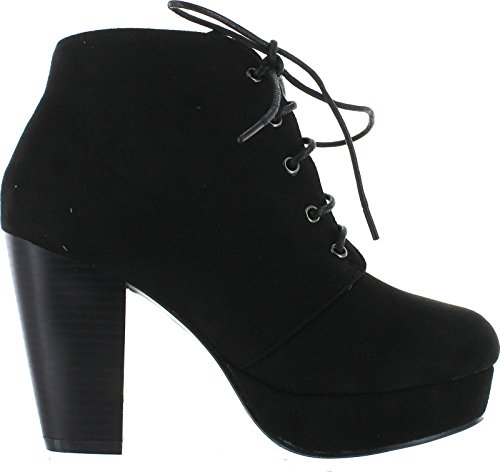 Forever Camille 86 Womens Comfort Stacked Chunky Heel Lace Up Ankle Booties Ankle Bootie