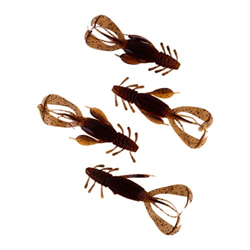 youeneom 4 Pcs Soft Shrimp Lures Fishing Bait Artificial Lures for Freshwater Trout Bass Salmon and More Large Fish Lures Fishing Tackle Kits Lifelike (Brown)