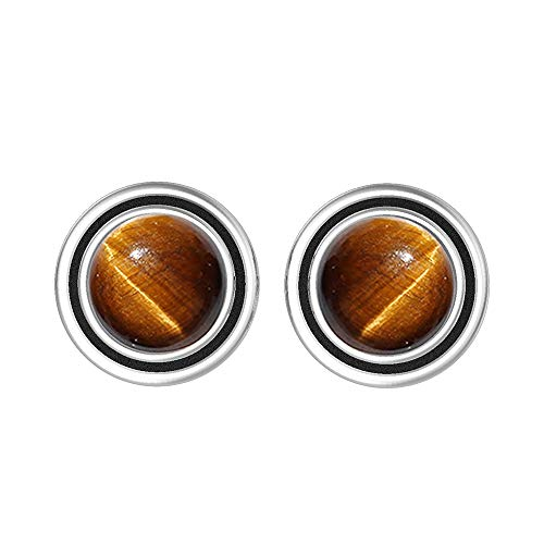 Natural 7mm Round Shape Tiger Eye Stud Earrings 925 Silver Plated Handmade Oxidized Finish Stud Earrings Jewelry For Women Girls ()
