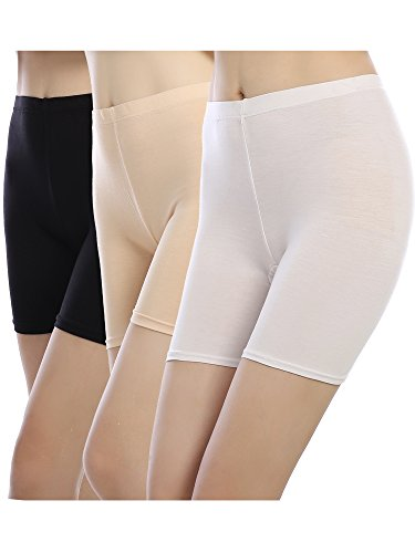 Smooth Shorts (Satinior Boyshort Panty Women Soft Underwear Briefs Safety Shorts Smooth Slip Short (L Size, 3 Packs-Black, White, Apricot))