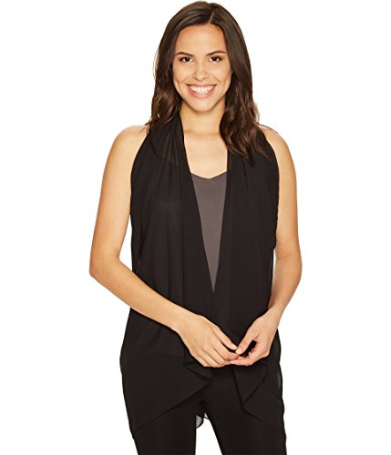 Boho-Chic Vacation & Fall Looks - Standard & Plus Size Styless - Calvin Klein Women's Solid Scarvest, black, One Size