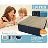 Intex Recreation Plush Airbed Kit, Queen, Beige, Outdoor Stuffs
