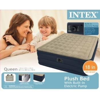 Intex Recreation Plush Airbed Kit, Queen, Beige, Outdoor Stuffs