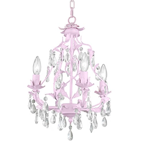 Fluorescent Chain Hung Lamp - Isabella 4 Arm Crystal Chandelier in Pink, 4-Light, Firefly Kids Lighting