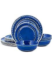 Melamine Dinnerware Set - Melamine Plates 12 Pcs Outdoor Plates Summer Plates and Bowls Sets Dinnerware Plastic Plates Ideal Camping Dish Set Dinnerware Set for 4 Dishwasher Safe Plate Set