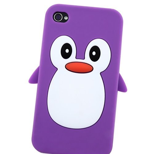 TOOGOO(R) Lila Pinguin Gummi Feel Anti-Rutsch Silikon Haut Schutzabdeckung fuer Apple iPhone 4S 4
