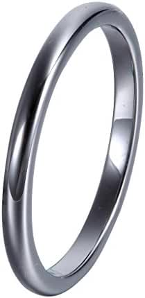 L-Ring 2MM Tungsten Metal Men Women Unisex Simplified Charming Polished Band Ring, Size 4-10
