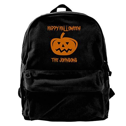 Orange Black Carved Pumpkin Halloween Canvas Shoulder Backpack Backpack For Men & Women Teens College Travel Daypack Black ()