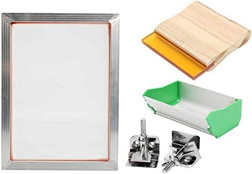 TOOGOO 5 Piezas/Juego Kit de SerigrafíA A5 Marco de Aluminio + Clip de Bisagra + Pintura de LáTex + Piezas de Herramientas de ImpresióN de Marco de Pantalla Raspadora