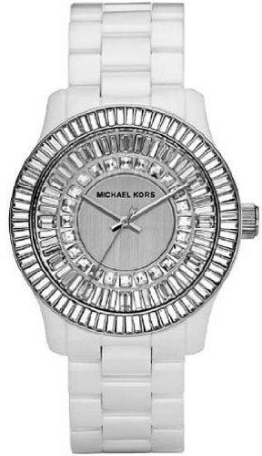 Michael Kors Analog Quartz White Ceramic Crystal Glitz Baguette Womens Watch MK5361