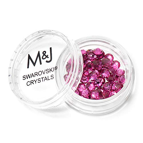 Swarovski Crystals Flat Back Rhinestones - 2088 Xirius Rose Round Foil Backed - SS20 (4.6mm-5mm) - Fuchsia 502 (Pink)