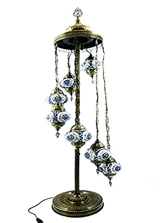 Lámpara de pie oriental estilo turco de cristal con mosaico ...